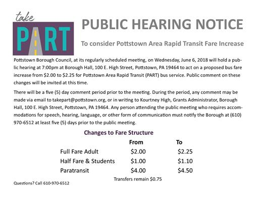 Fare Increase Public Notice